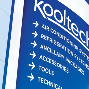 kooltech logo on sign